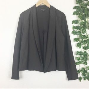 EILEEN FISHER Dark Brown Slate Open Blazer Jacket